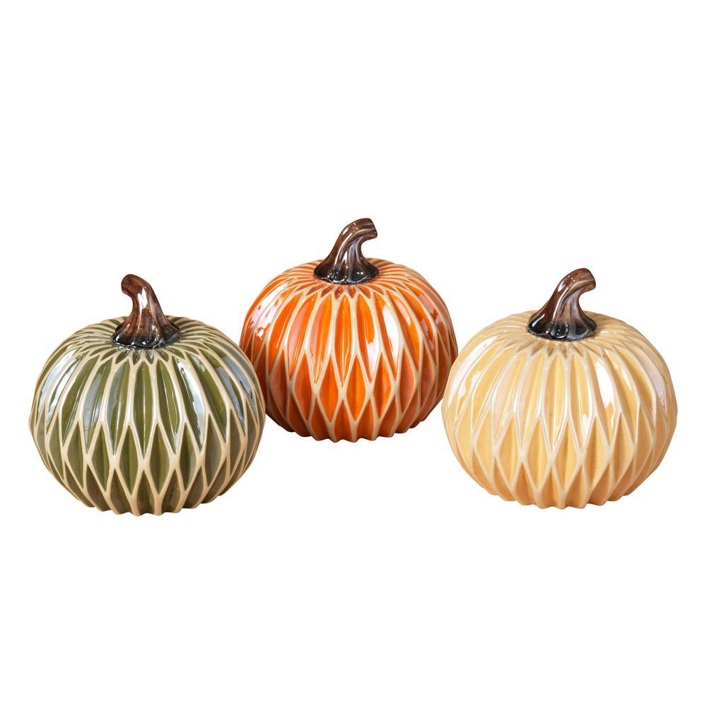 Assorted 6 in. H Dolomite Harvest Pumpkins (Set of 3)
