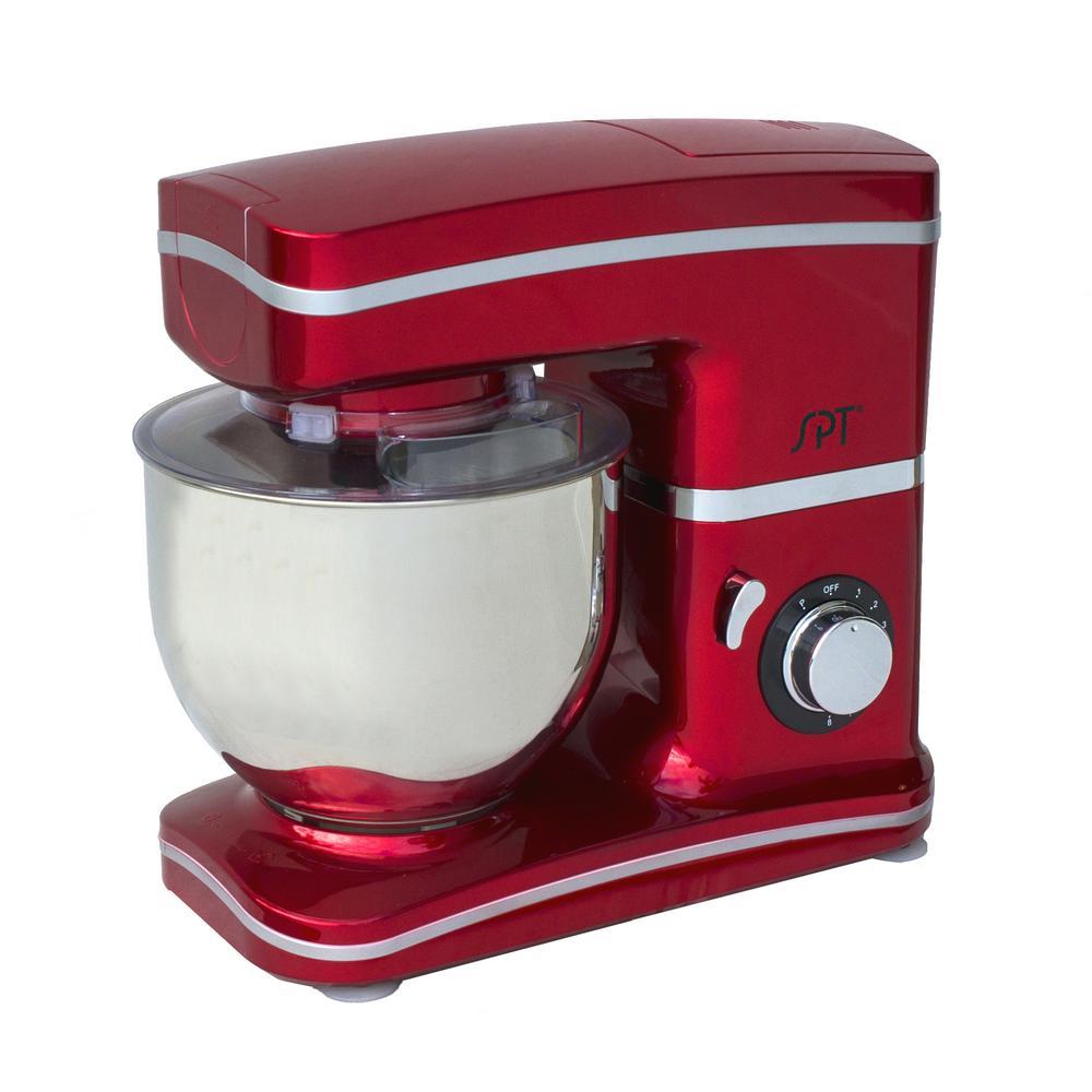 SPT 5.5 Qt 8-Speed Tilt Head Red Stand Mixer by SPT