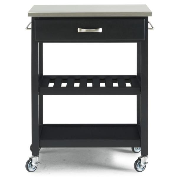 Homestyles Vineyard Black Kitchen Cart With Stainless Steel Top 5211