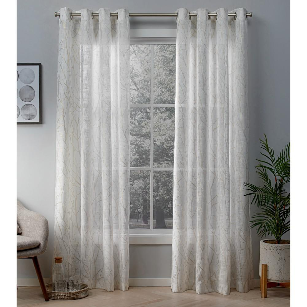 white and gold curtains Woodland Winter White/Gold Printed Metallic Branch Sheer Textured  white and gold curtains