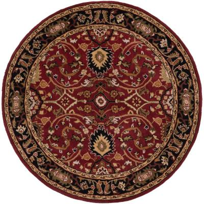 John Red 6 ft. x 6 ft. Round Border Area Rug