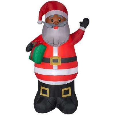 6.5 ft. Inflatable Airblown-African American Santa with Present