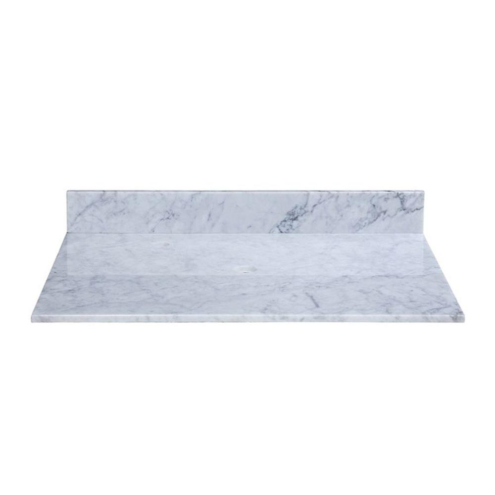 RYVYR 37 in. Marble Vanity Top in Carrara White without Basin