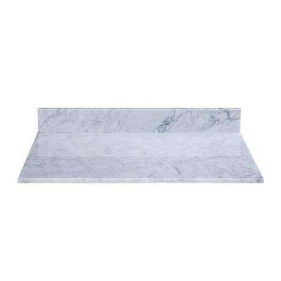 37 in. Marble Vanity Top in Carrara White without Basin