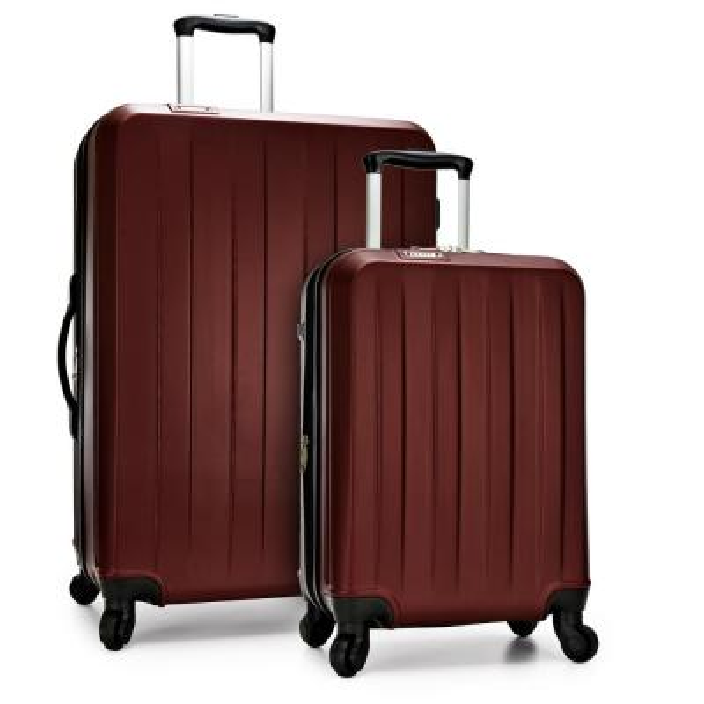 Havana 2-Piece Burgundy Spinner Luggage Set with USB Port