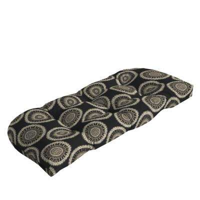 Black Geo Outdoor Loveseat Cushion