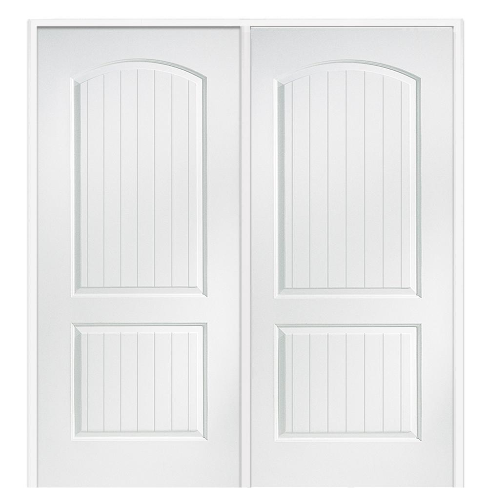Mmi Door 60 In X 80 In Smooth Cashal Right Hand Active Solid Core Primed Molded Mdf Double