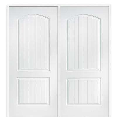 72 in. x 80 in. Smooth Cashal Right-Hand Active Solid Core Primed Molded Composite Double Prehung Interior Door