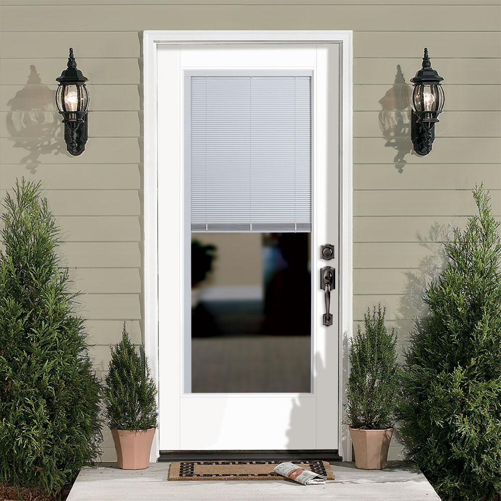 32 in. x 80 in. Vista Grande Left Hand Inswing Full Lite Mini Blind Primed Smooth Fiberglass Prehung Front Exterior Door