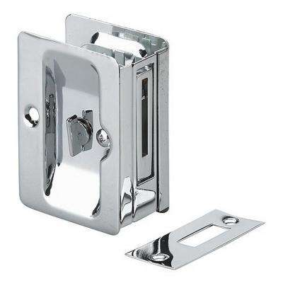 3-7/32 in. Chrome Pocket Door Pull with Privacy Lock