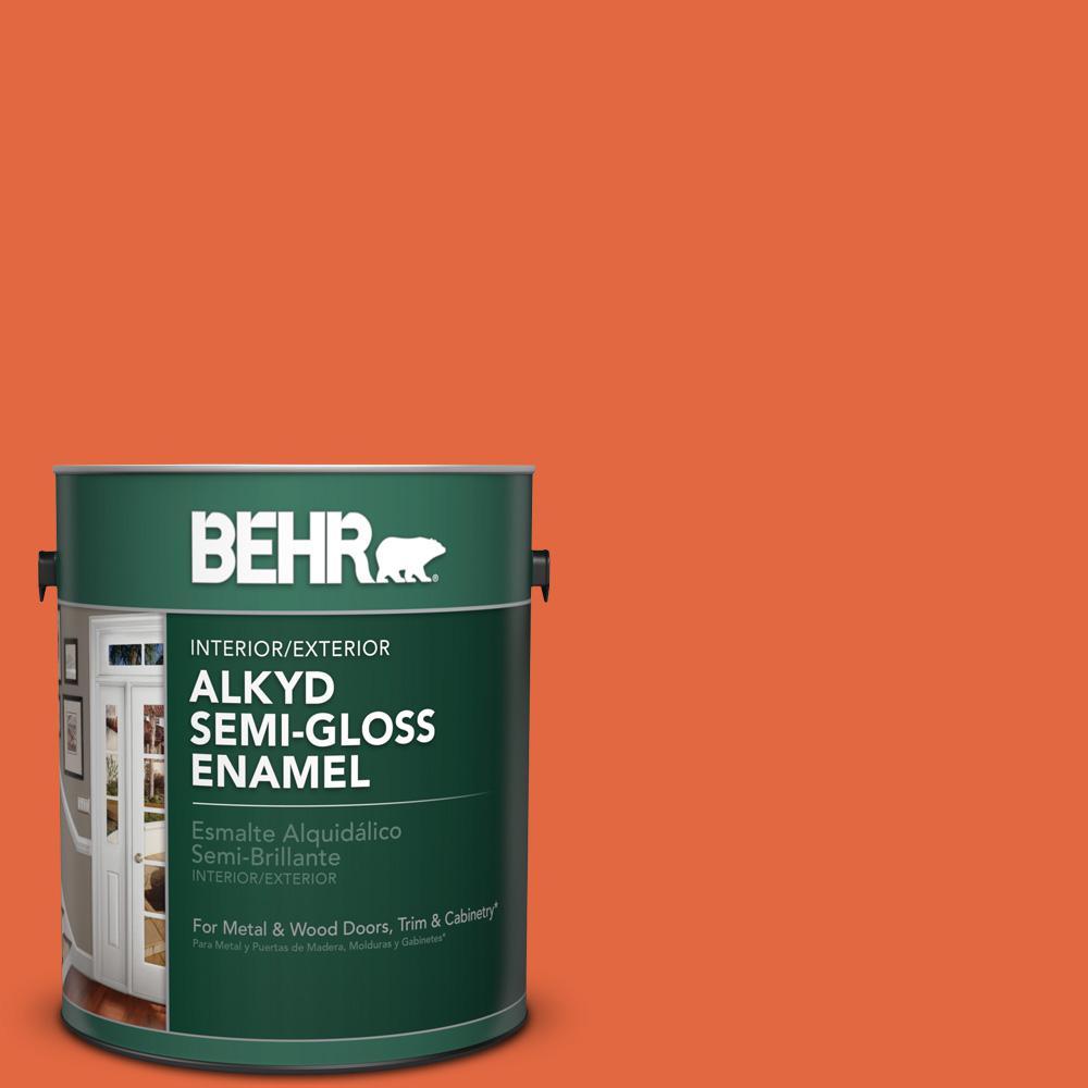 1 gal. #P190-6 Emergency Zone Semi-Gloss Enamel Alkyd Interior/Exterior Paint