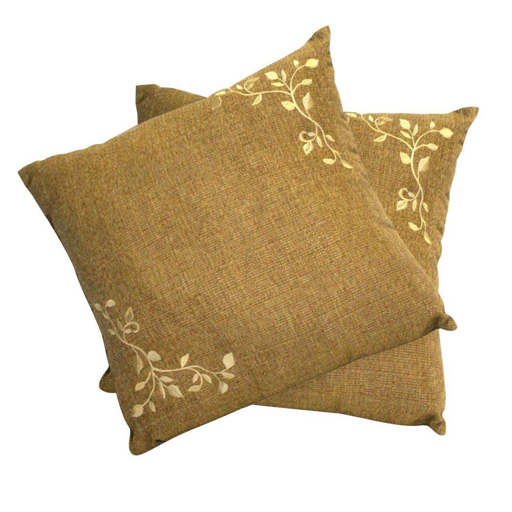 Peak Season Tan Embroidered Square Outdoor Throw Pillow (2-Pack)