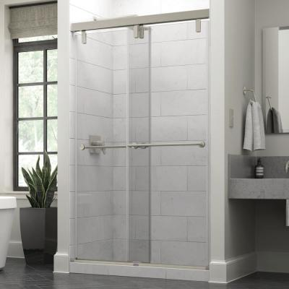 Crestfield 48 in. x 71-1/2 in. Mod Semi-Frameless Sliding Shower Door in Nickel and 3/8 in. (10mm) Clear Glass