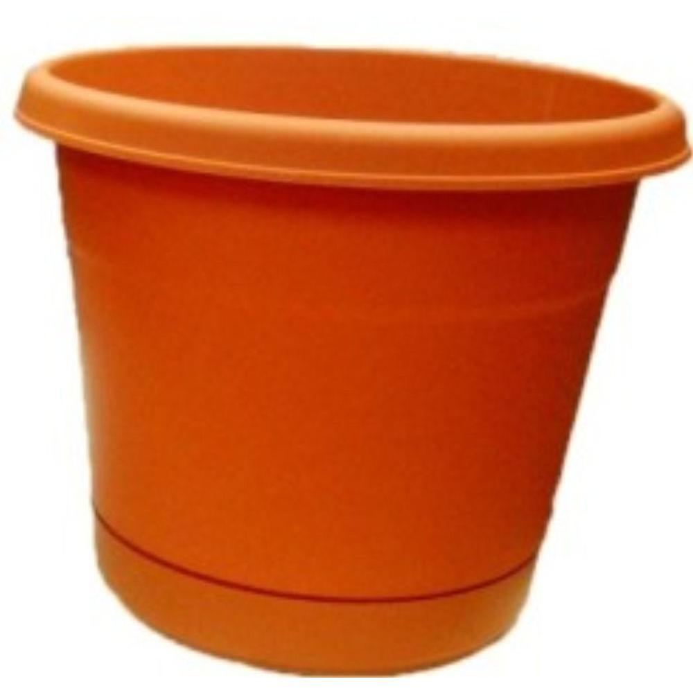 Round Terra Cotta Plastic Rolled-Rim Pot