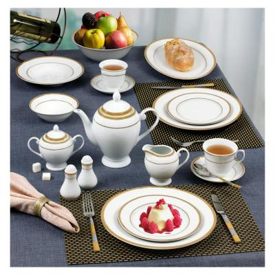 57-Piece Specialty Gold Border Porcelain Dinnerware Set (Service for 8)