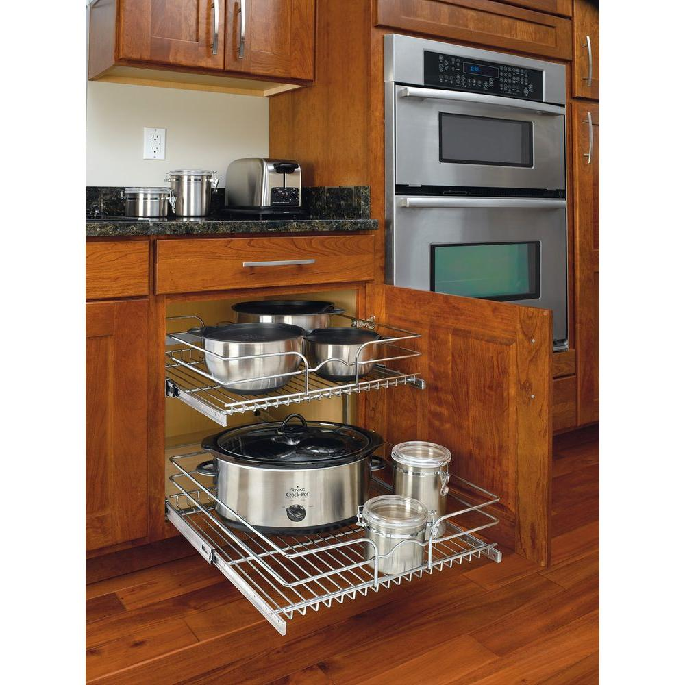 Pull-Out Cabinet Organizer Pots Pans Utensils 2-Tier Wire