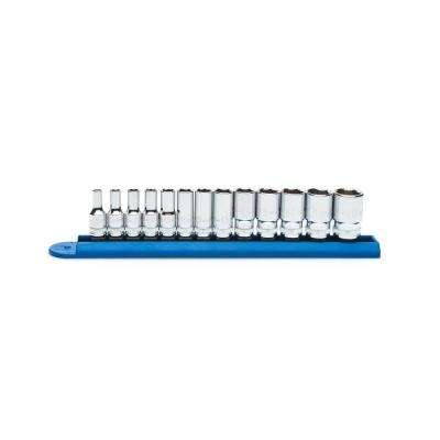 1/4 in. Drive Metric Mid Length Socket Set (13-Piece)
