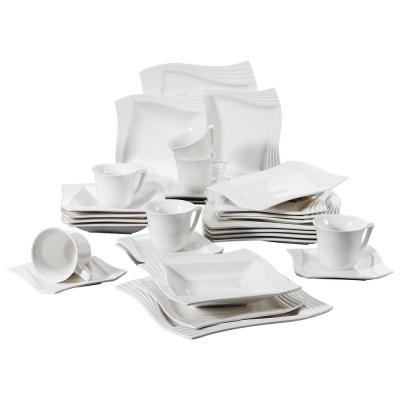 AMPARO 30-Piece Square White Porcelain Dinnerware Set Plates Cups and Saucers (Service for 6)