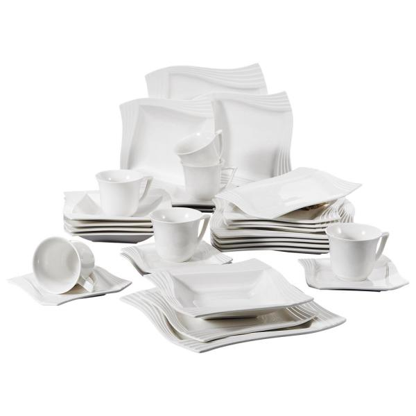 Malacasa 18 Piece Dinner Sets Red Stripes Ivory White Porcelain Dinner Service Set With 6 Piece Dessert Plates 6 Piece Soup Plates And 6 Piece Dinner Plates Series Felisa Cooking Dining Tableware