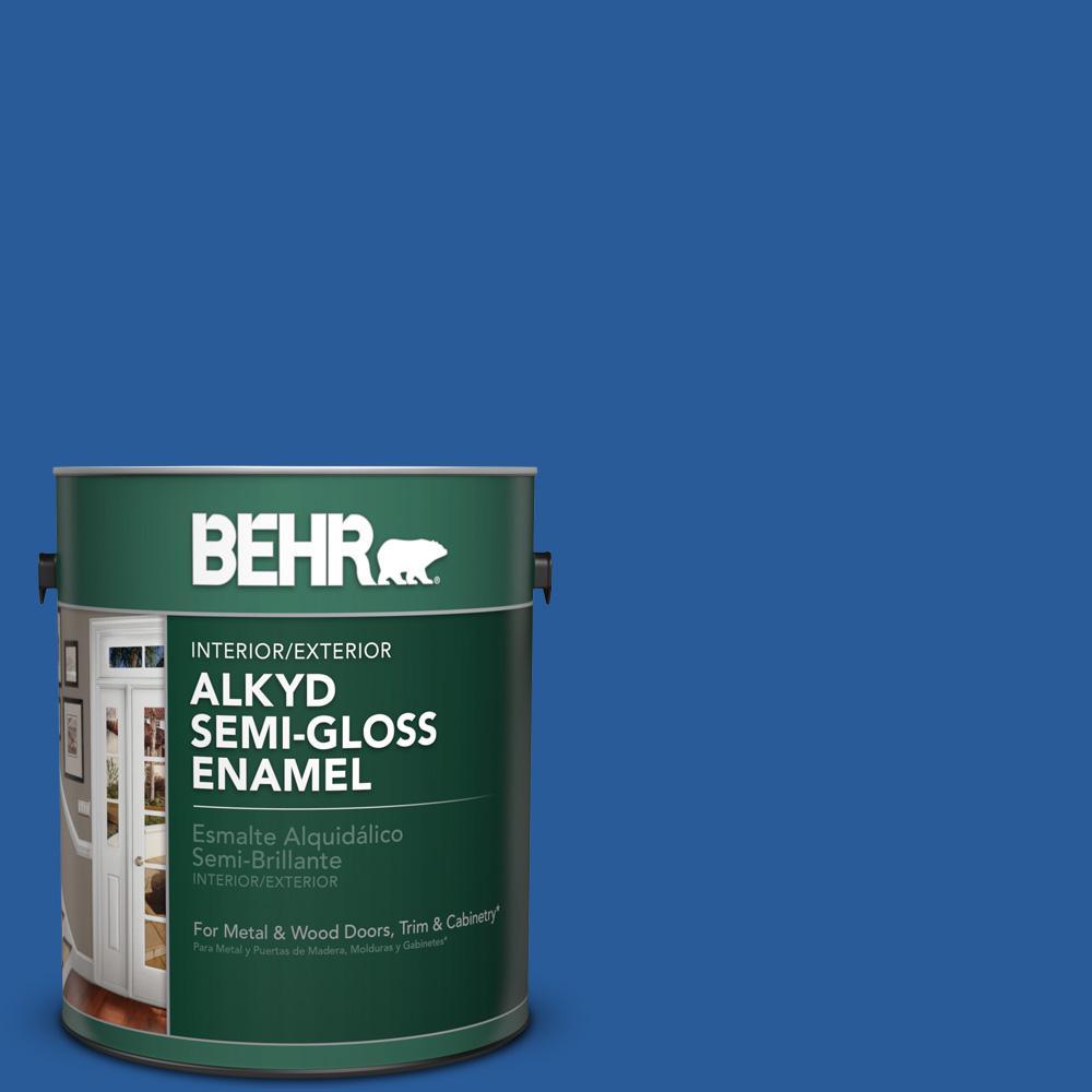 1 gal. #P510-7 Beacon Blue Semi-Gloss Enamel Alkyd Interior/Exterior Paint