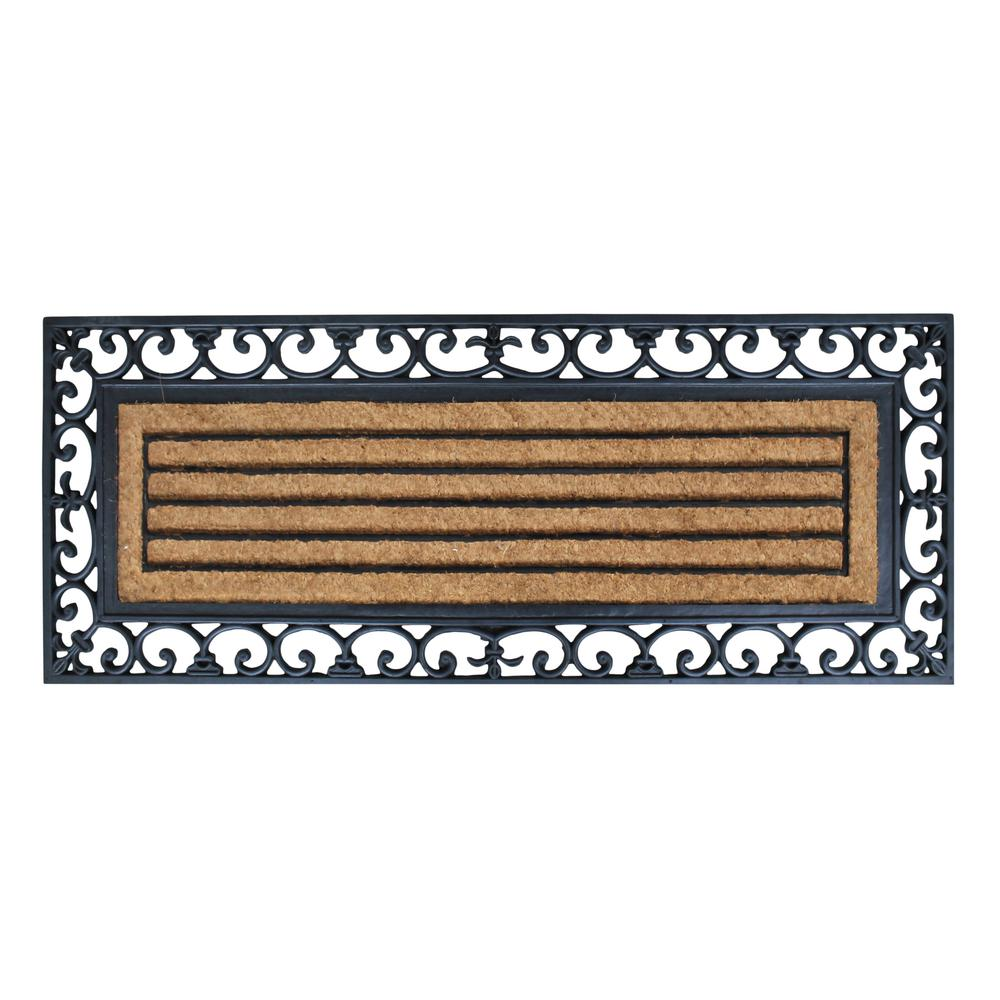 A1HC First Impression Clarence 18 in. x 48 in. Rubber and Coir Molded Door Mat