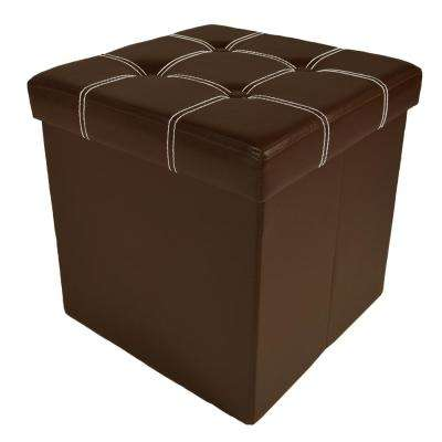 15 in. x 15 in. x 15 in. Brown Faux Leather Cube Collapsible Tufted Storage Ottoman