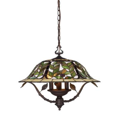 Latham 3-Light Tiffany Bronze Ceiling Mount Chandelier