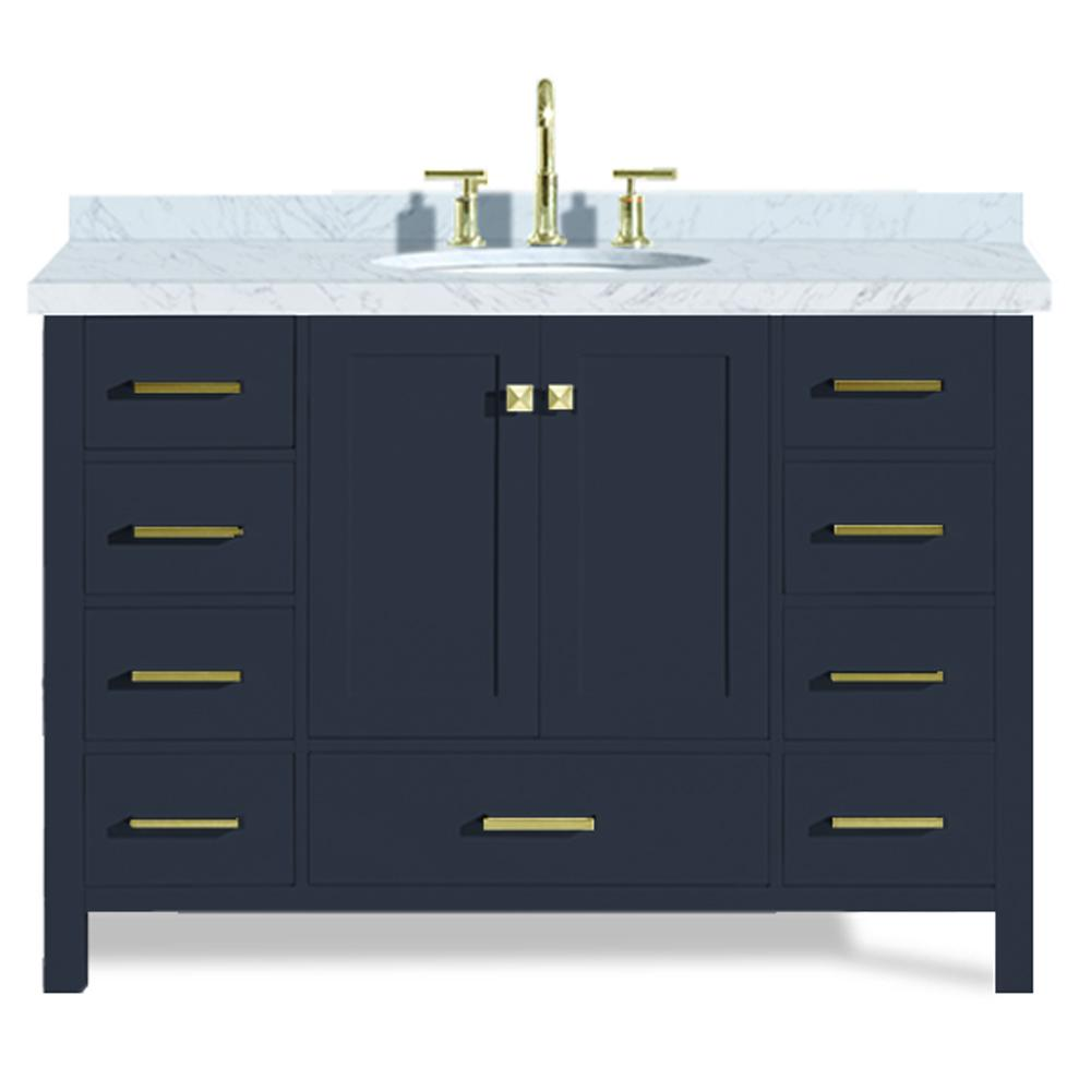 Ariel Cambridge 49 in. W x 22 in. D Vanity in Midnight Blue with Marble Vanity Top in Carrara White with White Basin