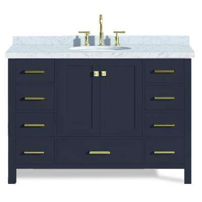 Cambridge 49 in. W x 22 in. D Vanity in Midnight Blue with Marble Vanity Top in Carrara White with White Basin