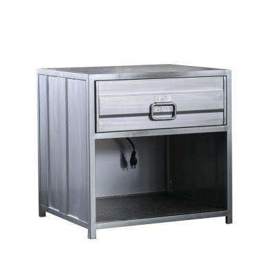 Mondo 1-Drawer Silver Nightstand
