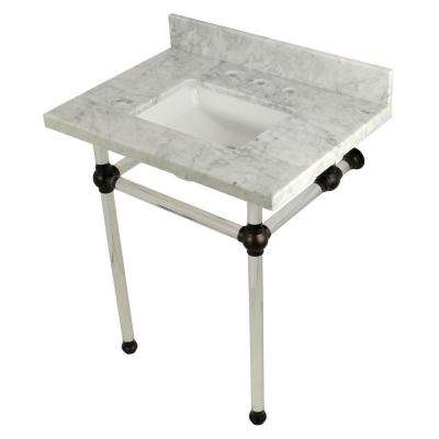 Square Sink Washstand 30 in. Console Table in Carrara Marble with Acrylic Legs in Oil Rubbed Bronze