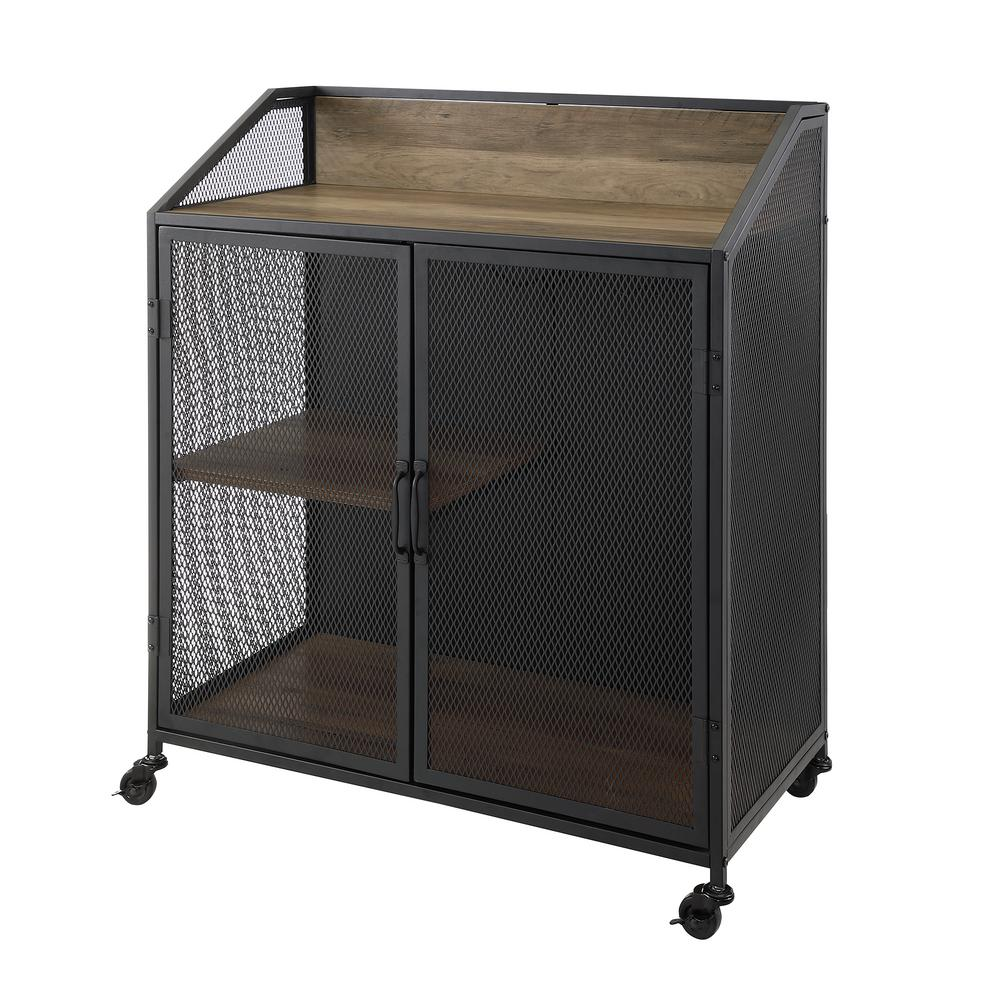 Walker Edison Furniture Company 33 In. Rustic Oak Industrial Bar Cabinet  With Mesh