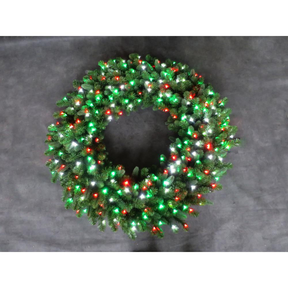 48 in. LED Pre-Lit Artificial Christmas Wreath with Micro-Style Red, Green