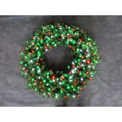48 in. LED Pre-Lit Artificial Christmas Wreath with Micro-Style Red, Green and Pure White Lights