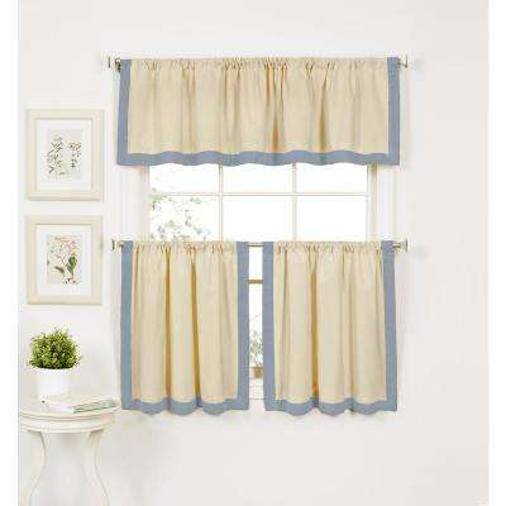 Wilton Blue Cotton Kitchen Panel - 30 in. W x 36 in. L (Set of 2)