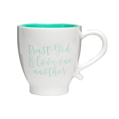 Love One Another 20 oz. White-Teal Ceramic Coffee Mug