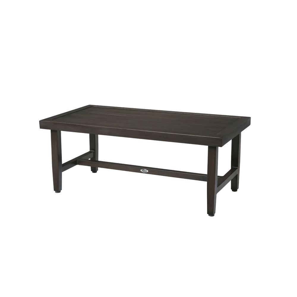Hampton bay woodbury metal outdoor patio coffee table