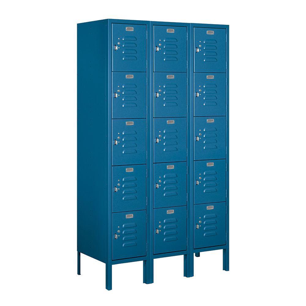 Salsbury Industries 65000 Series 36 in. W x 66 in. H x 15 in. D Five Tier Box Style Metal Locker Unassembled in Blue