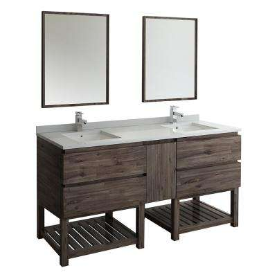72 in. Double Vanity with Open Bottom in Warm Gray with Quartz Stone Vanity Top in White with White Basins and Mirror