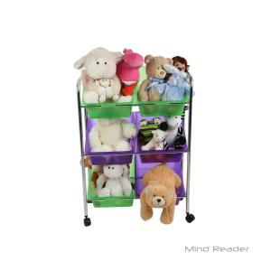Mind Reader 3-Tier Mobile Toy Storage Organizer with Multi-Color 6-Plastic Bins by Mind Reader