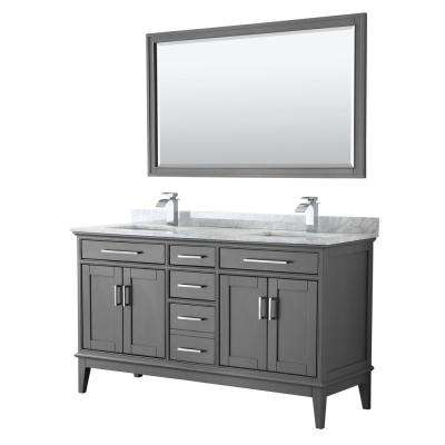 Margate 60 in. Bath Vanity in Dark Gray with Marble Vanity Top in White Carrara with White Basins and 56 in. Mirror