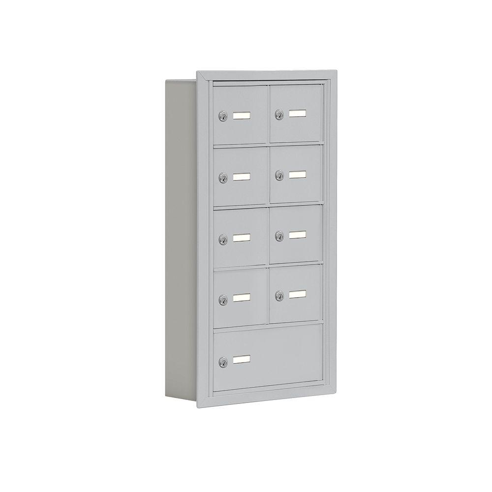 Salsbury Industries 19000 Series 17.5 in. W x 31 in. H x 5.75 in. D 8 A / 1 B Doors R-Mount Keyed Locks Cell Phone Locker in Aluminum