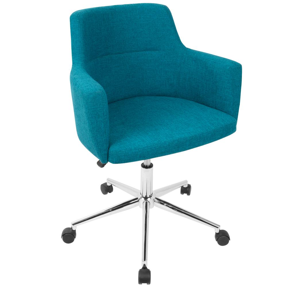 Cloth Office Chairs Throughout Lumisource Andrew Contemporary Adjustable Teal Fabric Office Chair