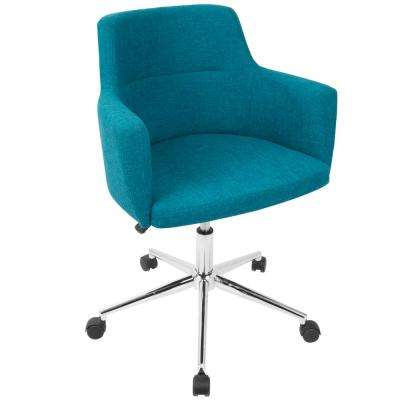 Andrew Contemporary Adjustable Teal Fabric Office Chair