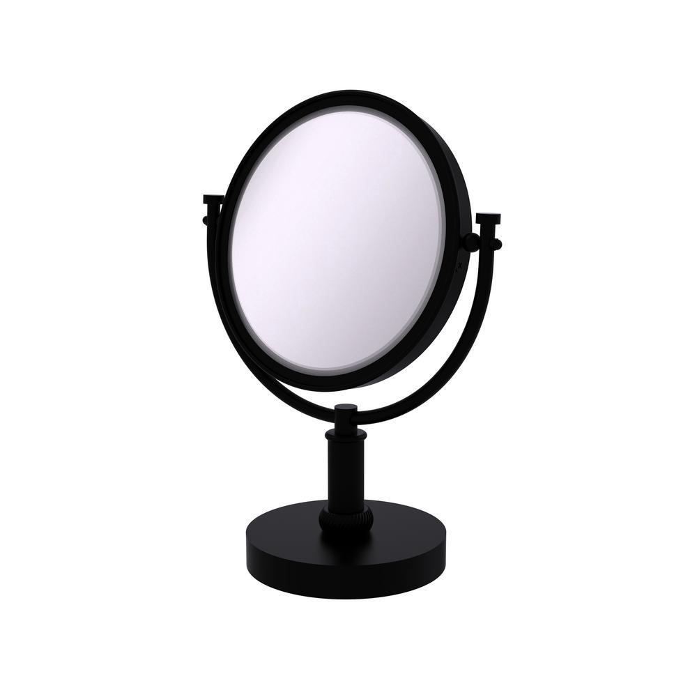 Vanity Top Make Up Mirror 2x Magnification In Matte Black