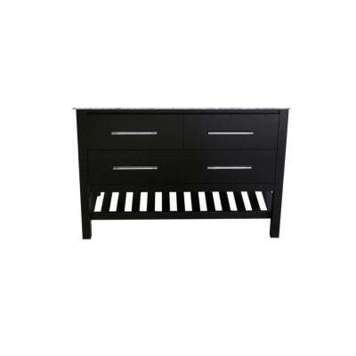 47 in. Main Cabinet Only in Black with Matte/Polished Chrome Hardware