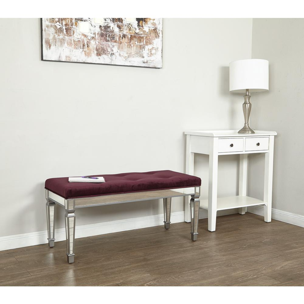 Ave Six Reflections 42 In Port Velvet Bench Ref4218 P19 The Home Depot