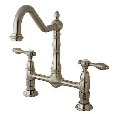 Victorian 2-Handle Bridge Kitchen Faucet with Lever Handle in Satin Nickel
