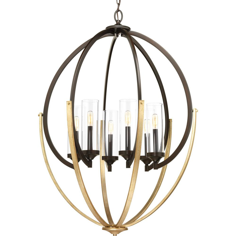 Evoke Collection 6-light Antique Bronze Chandelier with Clear Glass Shade