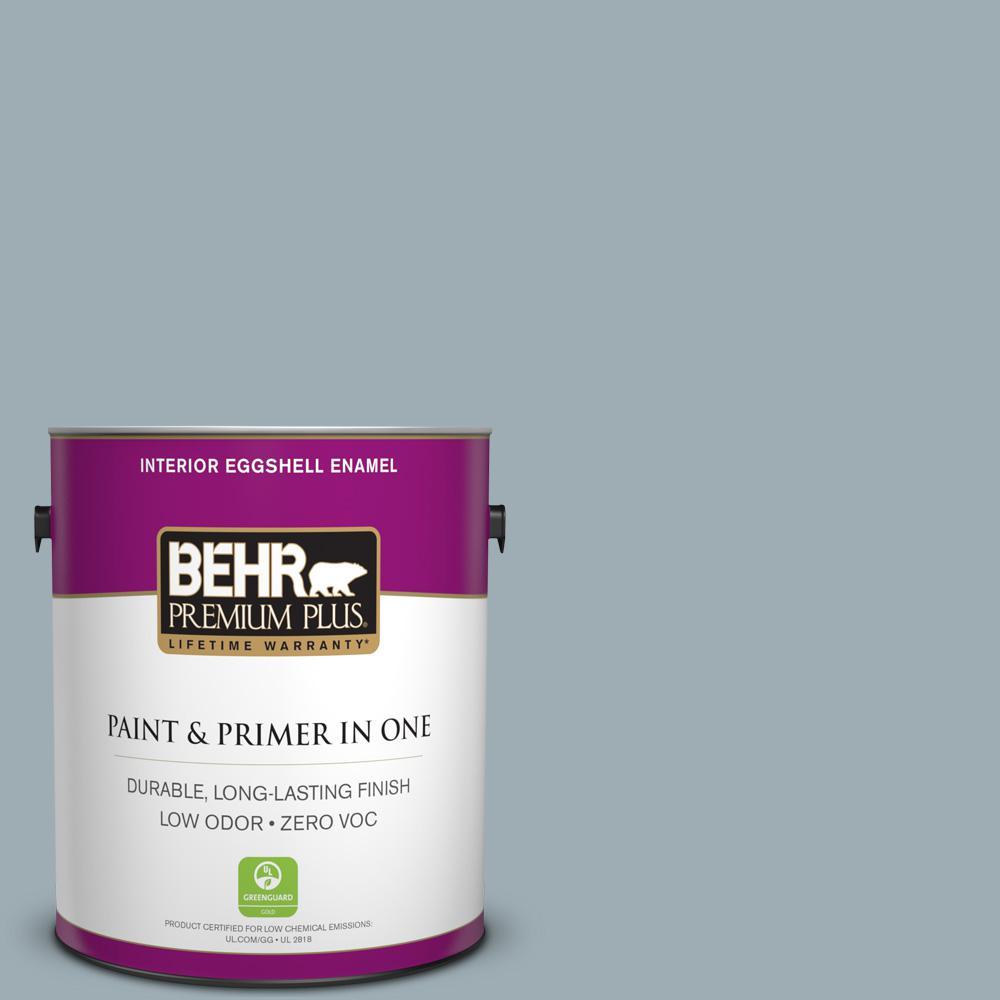 BEHR Premium Plus 1-gal. #ECC-30-1 Pelican Bay Zero VOC Eggshell Enamel Interior Paint